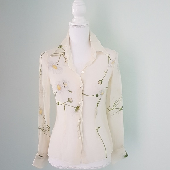 356893248fdb8a Dolce   Gabbana Tops - Dolce   Gabbana silk sheer flower print blouse